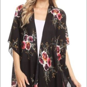 Black floral printed  kimono